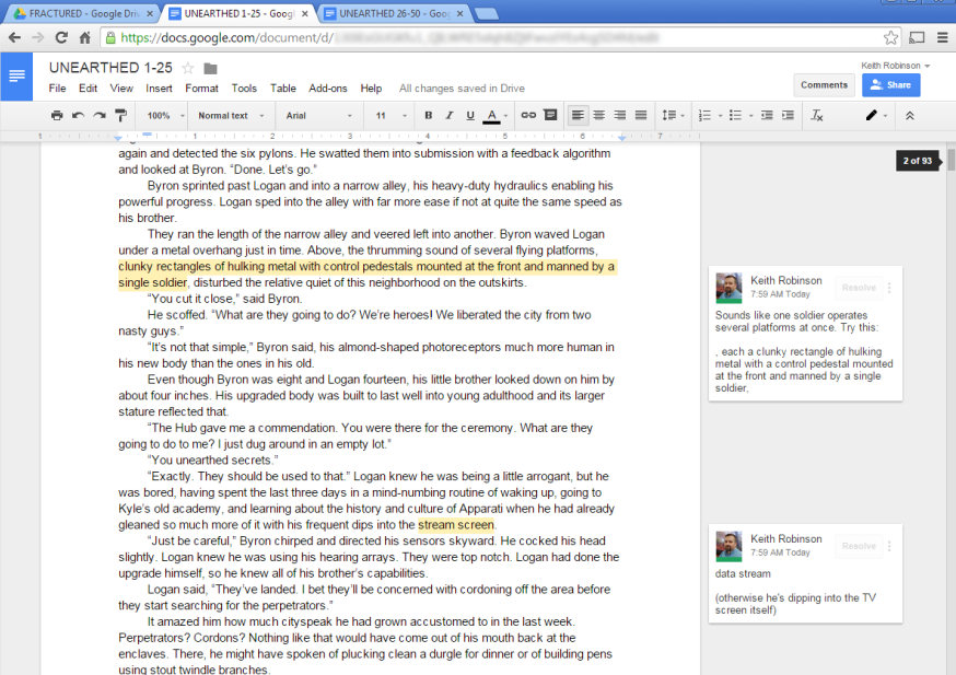 Google Docs shared between two authors